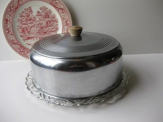 Sale Vintage Metal and Glass Retro Cake Carrier