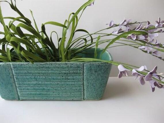 Reserved for Laurie Vintage Aqua and Black Speckled Ceramic Planter