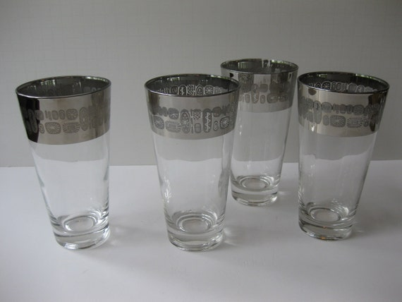 Vintage Canonsburg Temporama Silver Trimmed Tall Bar Glasses Set of Four - Mid Century