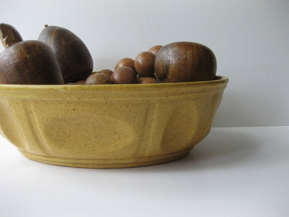 Reserved For Dawn Vintage Haeger Ceramic Mustard Yellow Speckled Oval Bowl