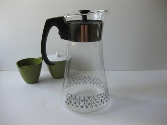 Vintage Pyrex Mod Black Coffee Carafe