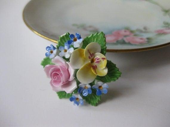 Dainty Denton China Vintage Floral Porcelain Brooch