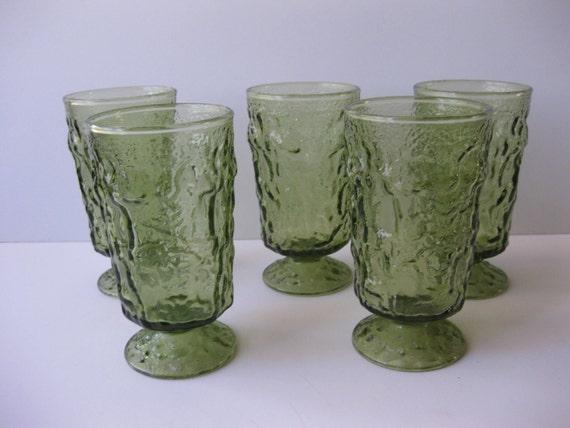 Vintage Anchor Hocking Avocado Green Lido Footed Juice Glasses Set of 5