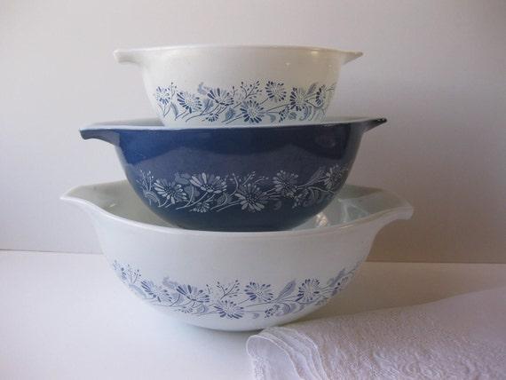 Vintage Pyrex Colonial Mist Blue Floral Cinderella By