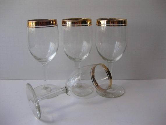 RESERVED Vintage Libbey Gold Trimmed Wine Glasses Set of EIGHT
