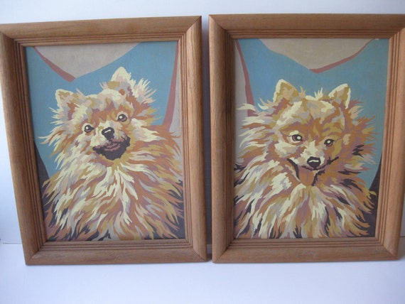 Vintage Paint by Number Aqua Tan Chihuahua Dog Wall Hangings