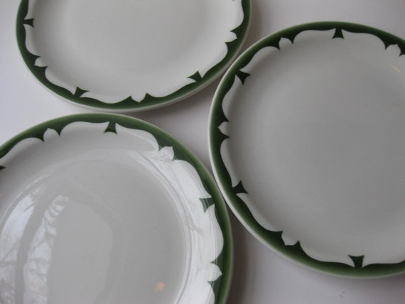 Vintage Jackson China Diner Style White and Green Plates Set of Three
