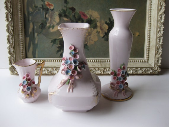 Vintage Handpainted Lefton China Pink Floral Porcelain Vase Collection of Three