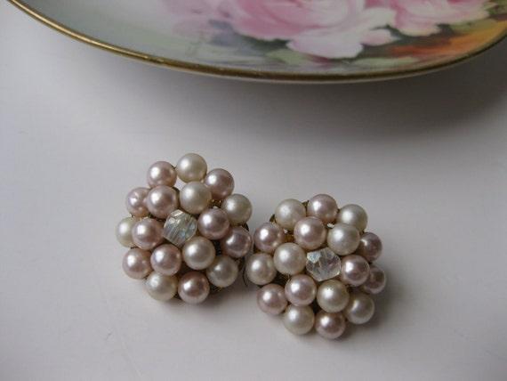Vintage Signed Japan Pale Pink Faux Pearl Aurora Borealis Large Clip Earrings