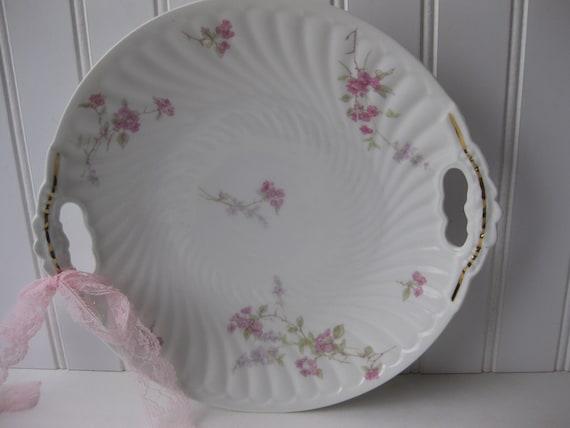 Antique Limoges Lanternier Pink Green Floral Handled Cake Plate