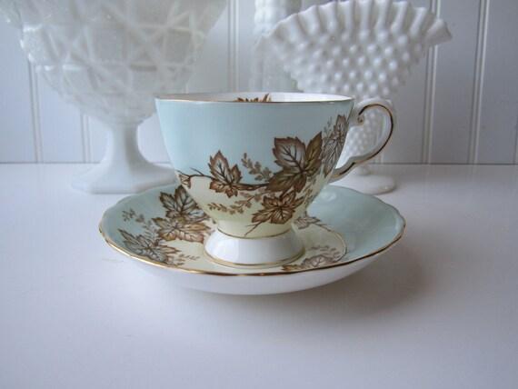 Vintage Tuscan English Bone China Aqua Tan Leaf Teacup & Saucer