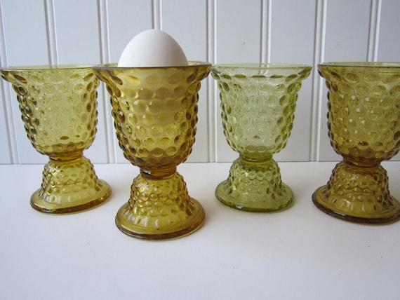 Vintage Amber Hobnail Egg Cups