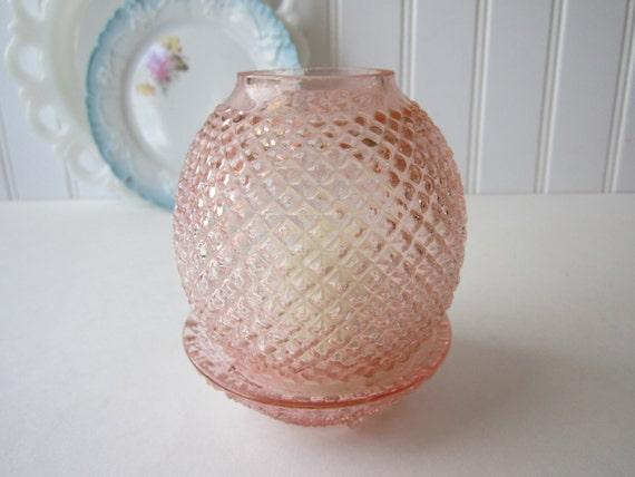 Vintage Pink English Hobnail Fairy Lamp