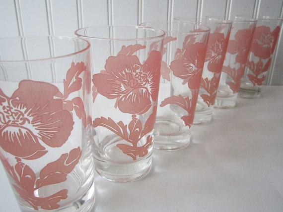 Vintage Federal Pink Floral Glass Tumblers Set of Six