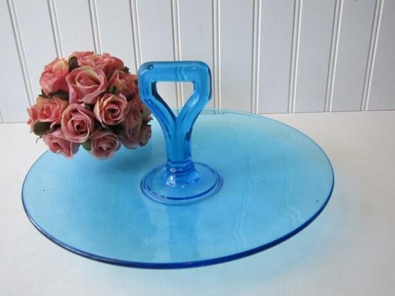 Vintage Blue Sandwich Plate/Serving Platter - Elegant