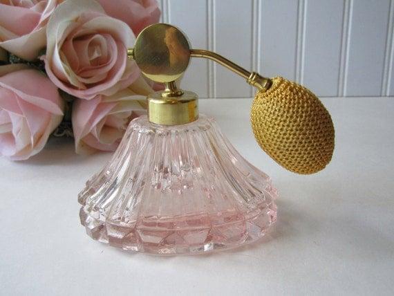Vintage Pink Goldtone Perfume Atomizer