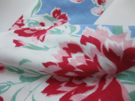 Vintage Red and Pink Floral Tablecloth