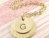 Layered Initial Pendant Necklace - Personalized - 14k Gold Fill