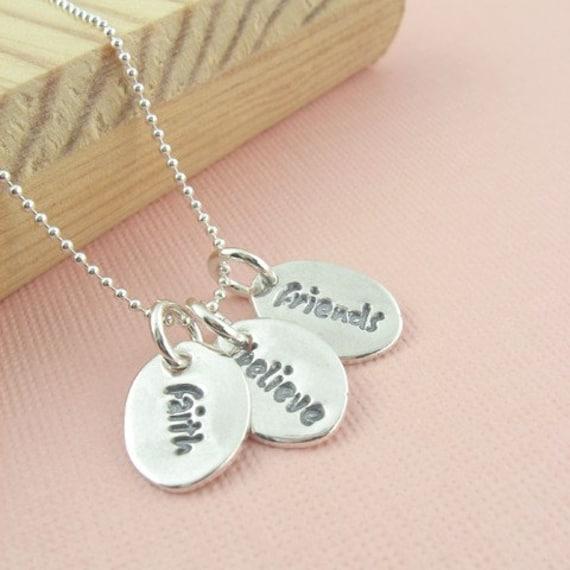 Inspirational Charm Bracelets: Fine Silver Inspirational Word Charm Necklace Three Charms