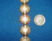 Beautiful Flat Coin shaped gold bead