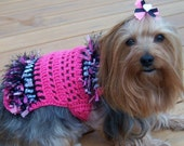 LIGHT MY FIRE sweater dress with confetti fringe - 2 to 20 lb dogs - made to order