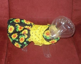 SUNFLOWER SMILES Harness Dress or VEST - Made to order - 2 to 12 lb dogs