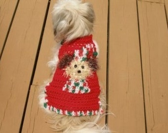 Dog sweater -FUZZY WUZ a POOCH at Christmas - Sparkle yarn - 2 to 20 lb dogs