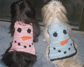 CHILLY DOG - snowman sweater avail in Ice Blue or Blush Pink -w/ optional stocking hat