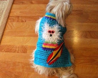 SURFER DUDES- Dog sweater - Choose your Dude - 5 to 20 lb dogs - made to order