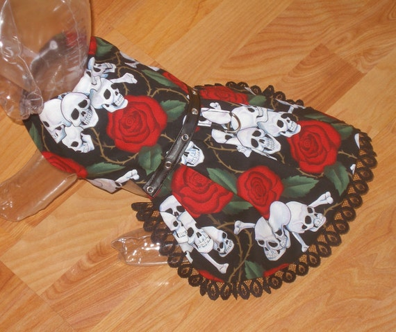 sKuLLS and RoSeS Tattoo Print Dog Harness Dress - Gothic Punk Design - 2 to 15 lb dogs - made to order