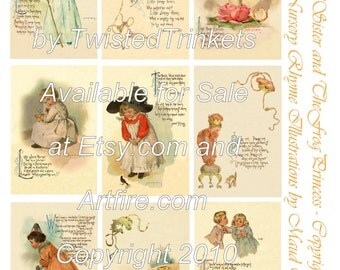 Vintage Nursery Rhyme Illustrations by Maud Humphrey Digital Collage - Digital Delivery or Hardcopy