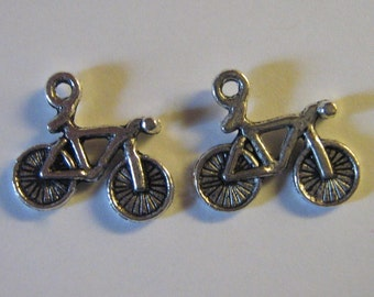 2 Silver Pewter Bicycle Charms (m03)