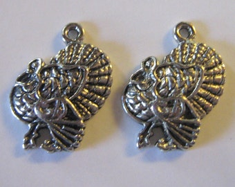 2 Silver Pewter Turkey Charms (cc43)