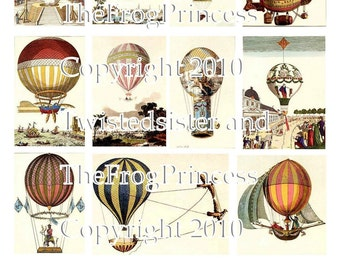 Vintage Hot Air Balloons Collage Sheet - Digital Delivery or Hardcopy