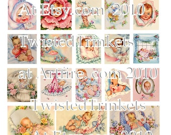 Vintage Baby Announcements Digital Collage Sheet - Digital Delivery or Hardcopy