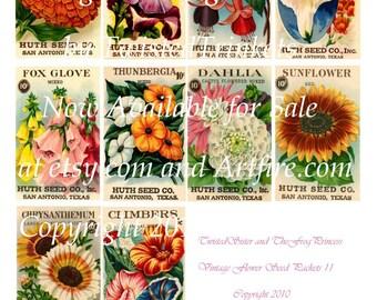 Vintage Flower Seed Packets II Digital Collage - Digital Delivery or Hardcopy