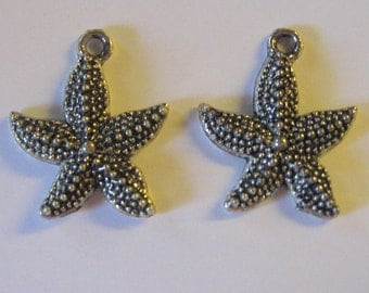 2 Silver Pewter Starfish Charms (m09)