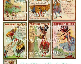 Vintage Fortune Teller Cards Digital Collage - Digital Delivery or Hardcopy