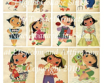Vintage Calendar Illustrations by Mary Blair Digital Collage - Digital Delivery or Hardcopy
