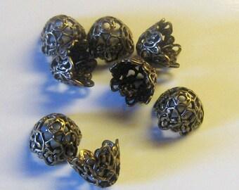 12 Antique Brass Elaborate Filigree Cone Bead Caps 9mm (bcb9vjss33)