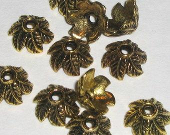 Antiqued Gold 11m Leaf Bead Caps (bcg6j365d)