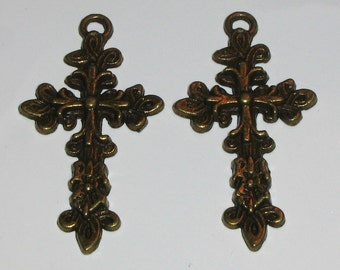 2 Antique Bronze or Antique Brass Ornate Cross Charms or Pendants (m90)