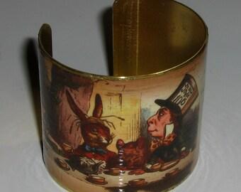 Alice in Wonderland Cuff Bracelet, Mad Hatter's Tea Party Cuff Bracelet, Brass Cuff Bracelet, Stainless Steel Cuff Bracelet