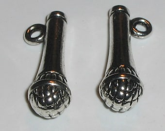 2 Silver Pewter Microphone Charms (m102)