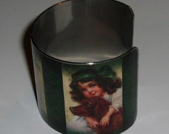 Vintage Style Stainless Steel Art Cuff Bracelet - St Patricks Day