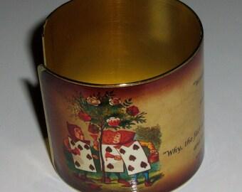 Vintage Style Brass Art Cuff Bracelet - Alice - The White Rose Tree