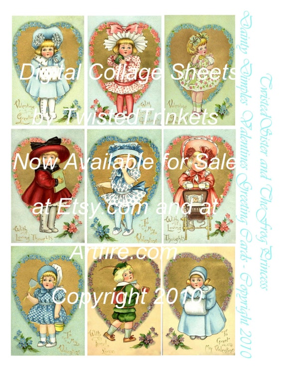 Dainty Dimples Valentines Greeting Cards Digital Collage Sheet - Digital Delivery or Hardcopy