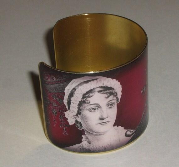 Vintage Style Brass Art Cuff Bracelet - Jane Austen - Agreeable - Cranberry