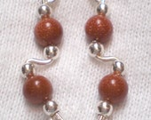 GOLDSTONE and Sterling Silver Ear Slides - Earrings - Pins for Ear