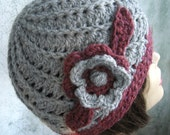 Womens Crochet Hat Pattern Spiral Rib With Double Flower Trim Instant Download